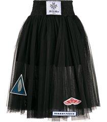 mr & mrs italy sheer pleated skirt - black