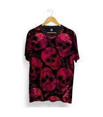 camiseta bsc full print pink skull