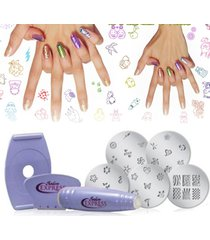 kit salon express para estampado manicure decoración de uñas salon xpress nail art lila