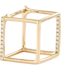 'square' diamond 18k yellow gold cube single earring - 10mm