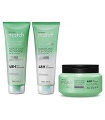 combo match agente antioleosidade: shampoo 250ml + condicionador 250ml + máscara 250g