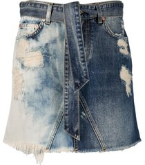 givenchy distressed denim mini skirt - blue