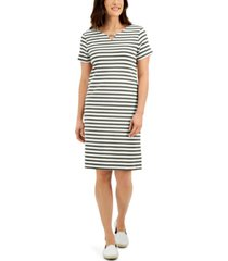 karen scott cotton janna striped split-neck dress, created for macy's