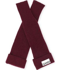 women's ganni recycled wool wrist warmers, size one size - burgundy