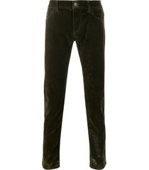 dolce & gabbana textured straight leg trousers - green