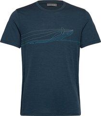 mens tech lite ss crewe single line whale t-shirts short-sleeved blå icebreaker