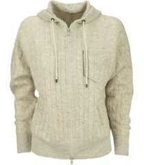 brunello cucinelli sparkling cable cardigan in mohair and wool with hood and shiny shadow pocket