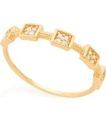 anel skinny ring detalhes quadrados com zircônias rommanel