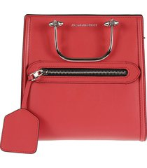 alexander mcqueen metal handle front pocket zip shoulder bag