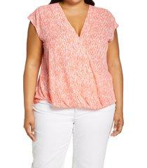 plus size women's halogen sleeveless surplice blouse, size 3x - coral