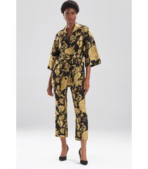 natori gold flower jacquard jacket, women's, black, cotton, size xs natori