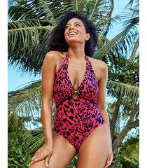 singita non wired plunge leopard print tummy control halter one-piece swimsuit