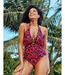 singita non wired plunge leopard print tummy control halter one-piece swimsuit