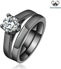 14k black gold finish 925 sterling silver round cut cz solitaire bridal ring set