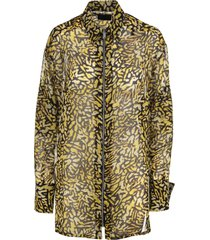 yellow and black animalier silk georgette shirt with zip