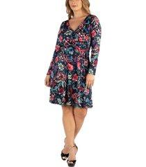 24seven comfort apparel floral print long sleeve plus size wrap dress