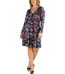 24seven comfort apparel floral print long sleeve plus size wrap dress
