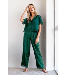 womens let's grow to bed jaquard pajama pants set - emerald