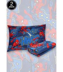 jogo de cama 2pã§s solteiro lepper spider man azul - azul - menino - dafiti