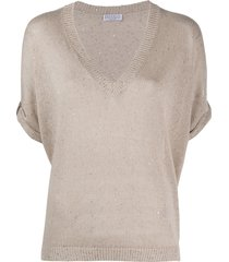 brunello cucinelli slouchy sequinned knit top - neutrals