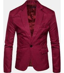 tacca colletto tinta unita sottile fit one button monopetto vintage suit per uomo