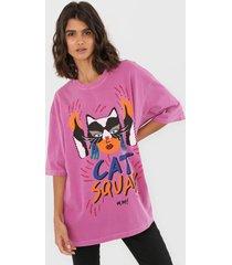 camiseta oh, boy! cat squad rosa - rosa - feminino - algodã£o - dafiti