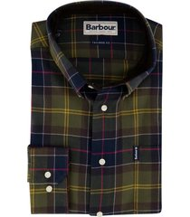 barbour overhemd olijfgroen geruit tailored fit