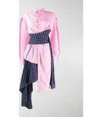 natasha zinko asymmetric wrap-waist shirt dress