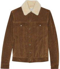 camel tone shearling-trimmed corduroy jacket
