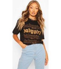 babygirl slogan oversized t-shirt, black