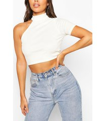 petite one shoulder high neck rib top, ecru