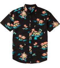 men's billabong men's sundays floral short sleeve button-up shirt, size small - black