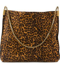 saint laurent medium suzanne leopard print tote bag - brown