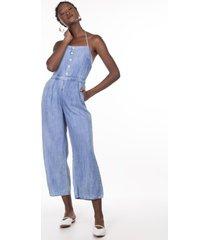 macacões khelf macacáo feminino jeans frente única azul
