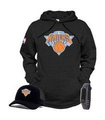 moletom canguru e boné preto personalizado time de basquete new york knicks com relógio de brinde