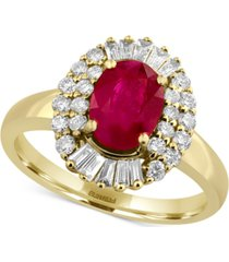 amore by effy certified ruby (1-3/8 ct. t.w.) and diamond (1/2 ct. t.w.) statement ring in 14k gold, created for macy's