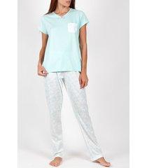 pyjama's / nachthemden admas pyjama broek t-shirt zomerbloemen groen adma's
