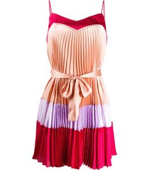 twin-set pleated short dress - red