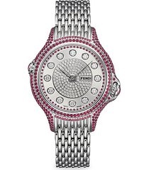crazy carats stainless steel diamond & ruby bracelet watch