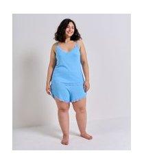 pijama regata de alcinha com renda curve & plus size | ashua curve e plus size | azul | g