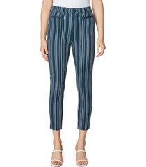 women's liverpool los angeles split hem stripe pants, size 16 - blue
