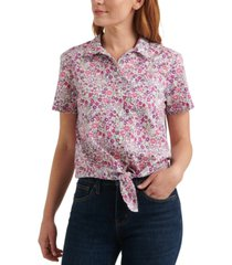 lucky brand floral-print tie-hem shirt