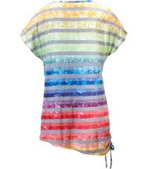 shirt met v-hals van anna aura multicolour
