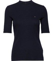 charlie slim high-nk top 1/2 slv t-shirts & tops short-sleeved blå tommy hilfiger