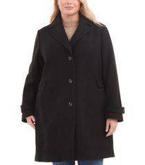 vince camuto plus size single-breasted notch collar wool coat, created for macy's