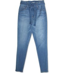 almost famous juniors' high rise self belt skinny jeans