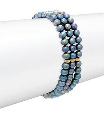 belpearl women's 14k yellow gold & 5mm black off-round pearl bracelet