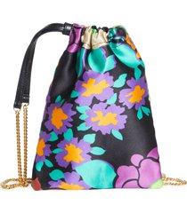 saint laurent mini pochon floral print satin drawstring pouch shoulder bag - black