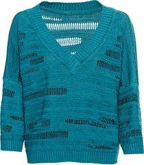 gebreide pullover van linnen met v-hals, oceaan 36/38