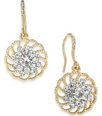 charter club gold-tone crystal palazzo drop earrings, created for macy's